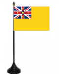 Niue Desk / Table Flag with plastic stand and base.
